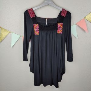 Free People Tunic Top Thai Style Embroidery